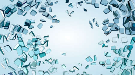 Pieces of Broken or Shattered blue glass Vector