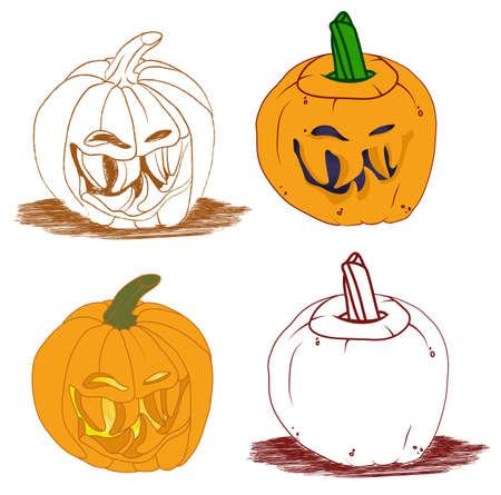 malicious: Malicious smiley Halloween pumpkin vector set. Holiday illustration