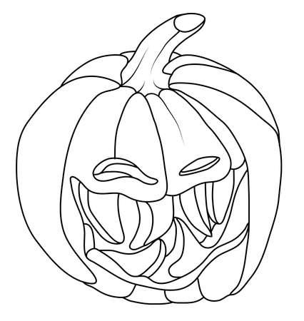 smirking: Creepy Smiley Halloween pumpkin face isolated on white