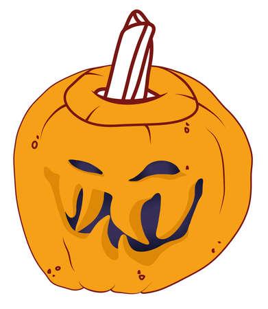 malicious: Smiley Malicious Halloween pumpkin isolated on white Stock Photo