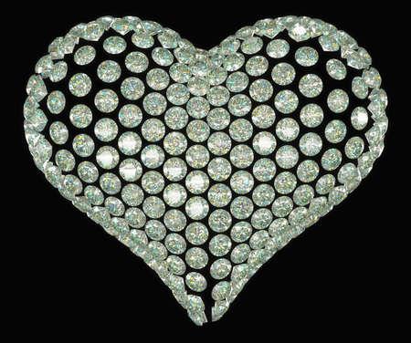 coeur diamant: Coeur de diamant de forme ou d'un ensemble de pierres précieuses isolées sur noir