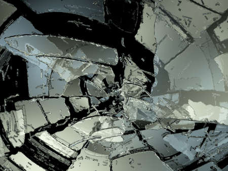 Many Pieces of demolished or Shattered glass on black photo