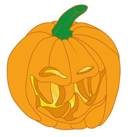 malicious: Smiley Malicious Halloween pumpkin isolated on white. Large size