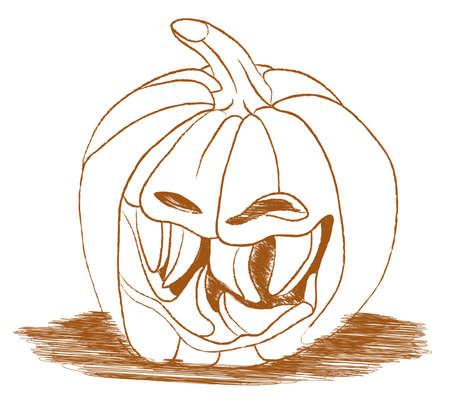 spiteful: Smiley scary Halloween pumpkin isolated on white. Large size
