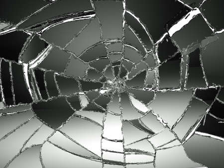 on mirrors: Glass Broken or Shattered on white. Large resolution Stock Photo
