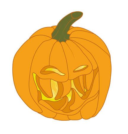 malicious: Malicious Halloween pumpkin smiling. Holiday illustration