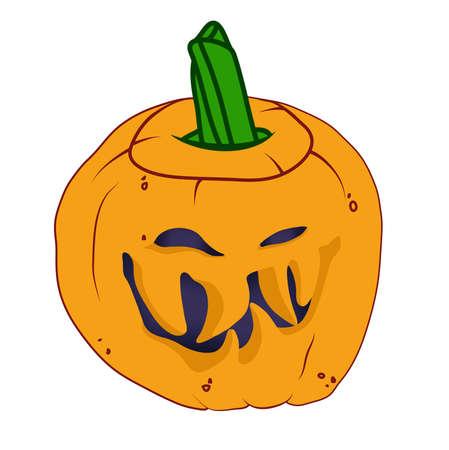 malicious: Malicious Halloween pumpkin with smile. Holiday illustration Stock Photo