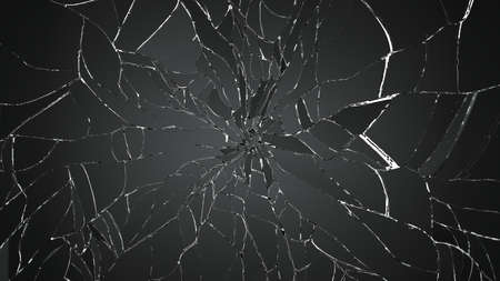 crack: Many pieces of broken glass on white. Large resolution