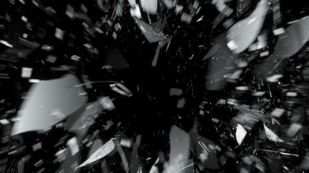 Destructed or Shattered glass with motion blur on black. Large resolution photo