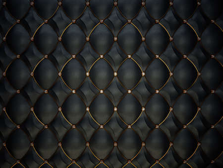 Black leather pattern with golden wire and diamonds. Luxury background photo