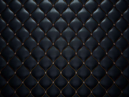 Black leather pattern with diamonds and golden wire. Comfort and luxury photo