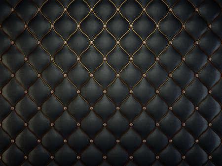 金ワイヤと宝石の黒革のパターン。豪華な背景