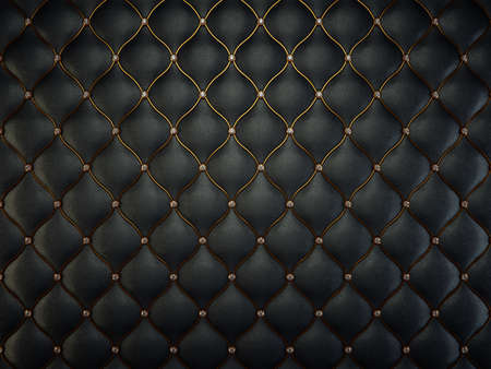 Black leather pattern with golden wire and gems. Luxury background Archivio Fotografico