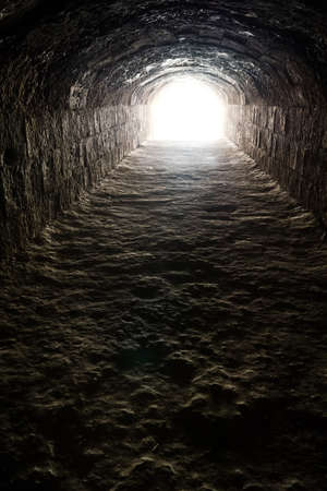 tunnel vision: Light in the end of the dark tunnel. Hope and life