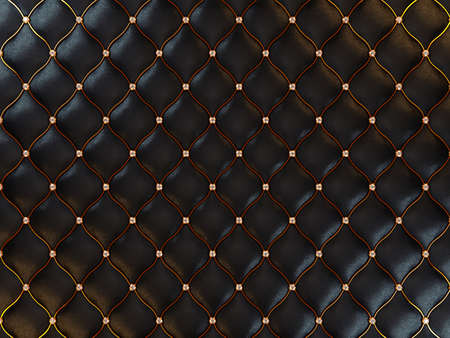 Luxury black leather pattern with gemstones and golden wire. Useful as background photo