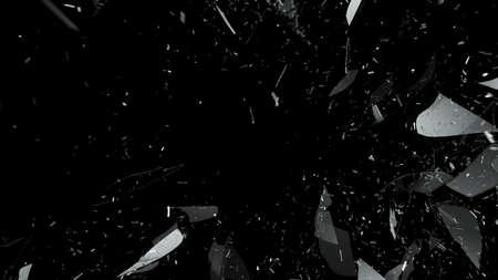 vidrio roto: Allanamiento de cristal rota en negro. Gran resoluci�n