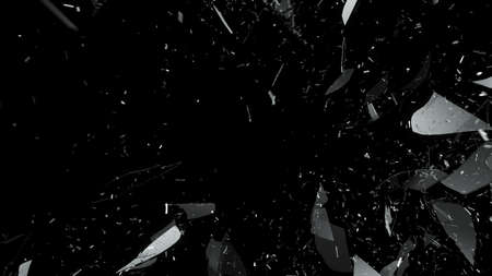 Quebra e vidro quebrado no preto. Grande resolu