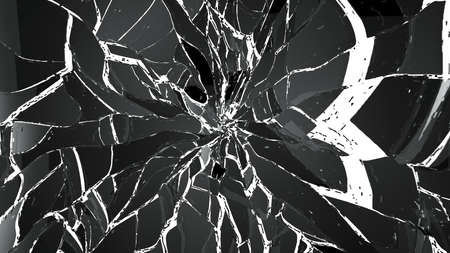 shattered glass: Pieces of Shattered glass isolated on white. Large resolution