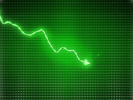decrease: Green trend graph as symbol of business contraction or financial crisis Stock Photo