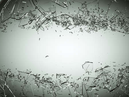 Pieces of splitted or cracked glass on grey gradient background. Large resolution
