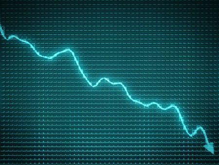 decline: Blue arrow chart drop as symbol of decline and economic recession Stock Photo