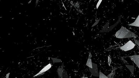 cristal roto: Vidrio destruido en el fondo negro. Gran resolución