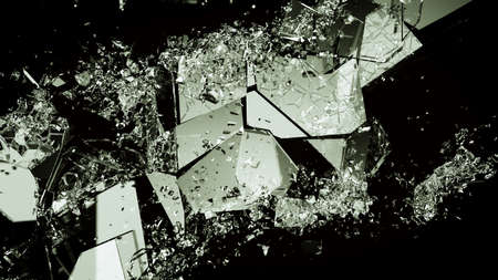 Pieces of broken or demolished glass on black. Large resolution Stock Photo