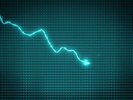 Blue trend graph as symbol of recession or financial crisis. Stock Photo
