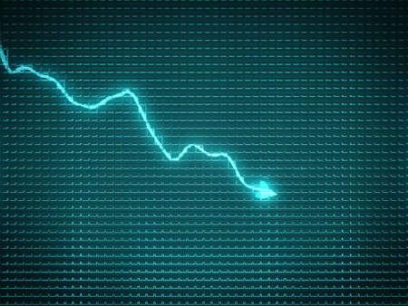 Blue trend graph as symbol of recession or financial crisis. Archivio Fotografico