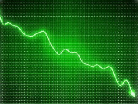recession: Green trend as recession symbol or financial crisis. Business concept