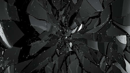 Pieces of broken or cracked glass on black. Large resolution Stock Photo