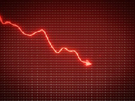 Red trend as symbol of economy drop or financial crisis. Business pattern