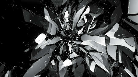 shattered glass: Shattered glass on black with motion blur. Large resolution Stock Photo