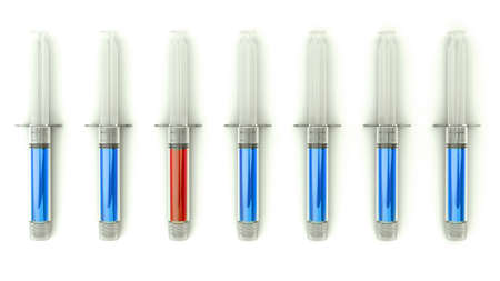 medical choice: Right Medical choice with group of syringes on white