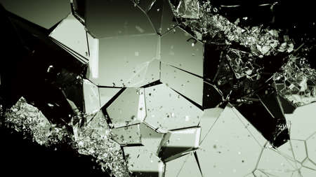 cracked glass: Pieces of broken or cracked glass on black. Large resolution Stock Photo