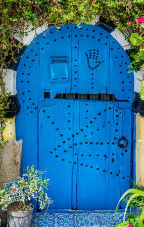 sidi bou said: Old Blue door with arch from Sidi Bou Said and flowers
