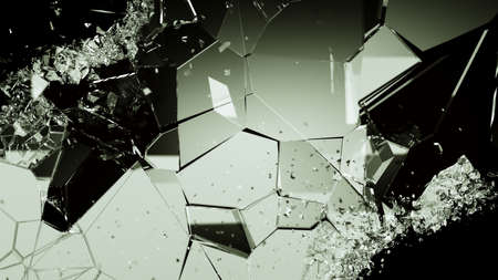 cracked glass: Shattered or cracked glass pieces on black. Large resolution Stock Photo
