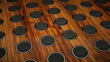 acoustic systems: Wall of sound: many speakers on wooden background. Large resolution