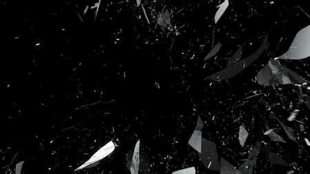 cristal roto: Shattered o agrietado vidrio en negro. Gran resolución