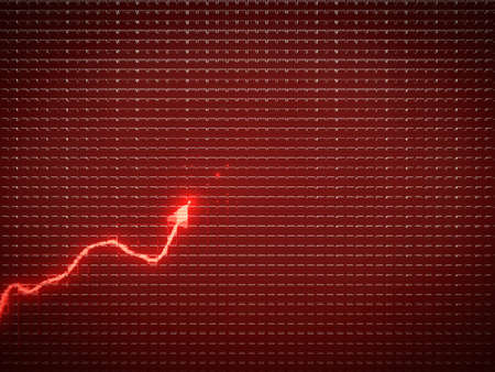 graph: red trend graph as symbol of economic or business growth. Useful for analytics
