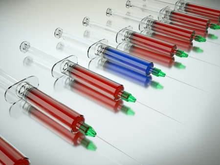 medical choice: Right Medical choice with group of syringes and unique one. Large resolution Stock Photo
