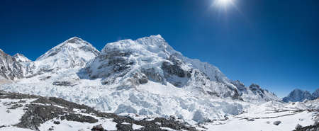 himalayas: Everest base camp area panoramic view. Extreme resolution
