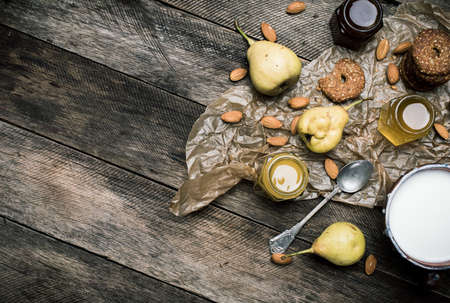 rustic food: pears Cookies honey and nuts on rustic wood. Rustic style and autumn food photo Stock Photo