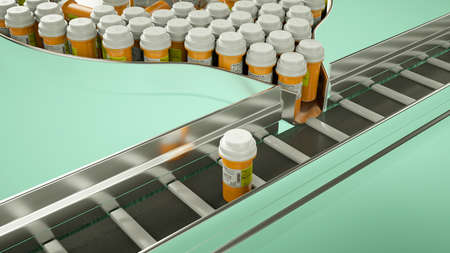 Drugs and pills production line. pharmacy and medicine