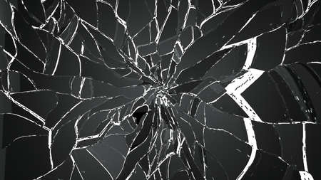 cracked glass: Broken or cracked glass on white background. Large resolution