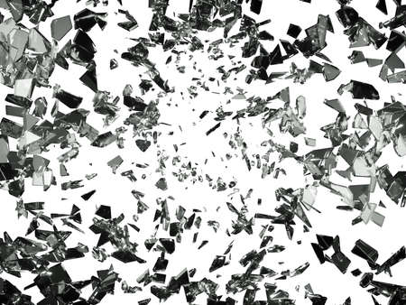 shattered glass: Pieces of splitted or cracked glass on white. Large resolution