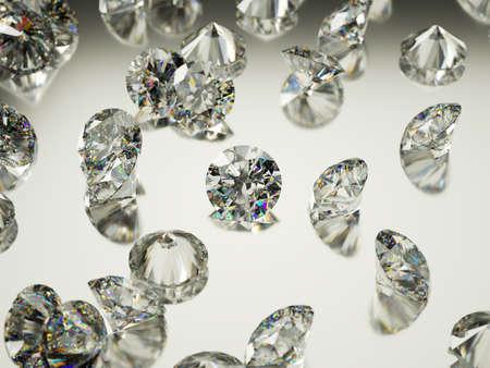diamond: Many large Diamonds or gemstones on surface with reflection. Luxury and wealth Stock Photo