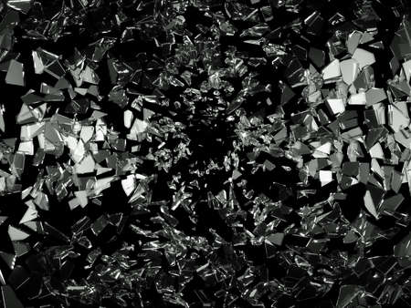 shattered glass: Shattered pieces of glass on black. Large resolution