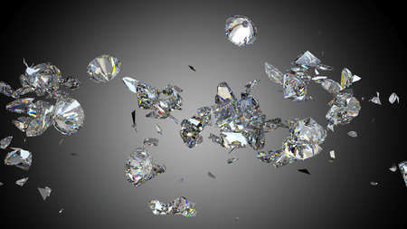 Destrozada y agrietada diamante o las piedras preciosas de alta resolución