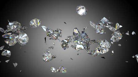 Shattered en gebarsten diamant of edelstenen hoge resolutie